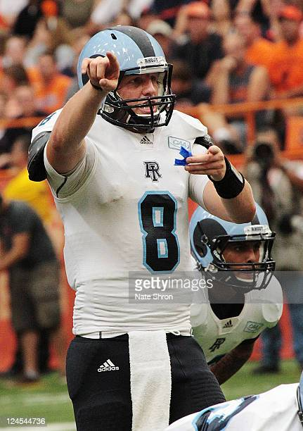 Steve Probst of the Rhode Island Rams calls the play against the Syracuse Orange during the game on September 10 2011 at the Carrier Dome in Syracuse...