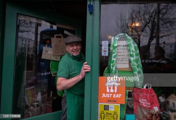 Steve Quilligan at the door of his Irish Potato Cake Company restaurant in Dublin's city center. On Monday, 15 March 2021, in Dublin, Ireland.