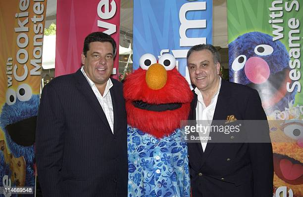 """Steve R. Schirripa, Elmo and Vince Curatola during Beaches Resorts Announces Partnership with """"Sesame Street"""" in New York, NY, United States."""