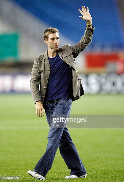 Steve Ralson of the New England Revolution salutes the fans after the SuperLiga 2010 on July 20 2010 at Gillette Stadium in Foxboro Massachusetts The...