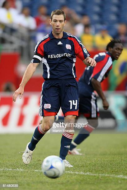 Steve Ralston of the New England Revolution handles the ball during the game played against the FC Dallas at Gillette Stadium on June 06 2008 in...