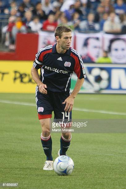 Steve Ralston of the New England Revolution handles the ball during the game played against the New York Red Bulls at Gillette Stadium on June 18,...