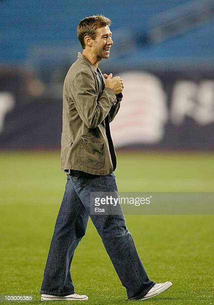 Steve Ralston of the New England Revolution is greeted by cheering fans after the game against Monarcas Morelia during SuperLiga 2010 on July 20,...