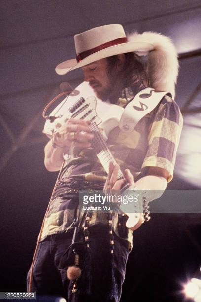 Steve Ray Vaughan performs on stage at Umbria Jazz Festival, Perugia, Italy, 1985.