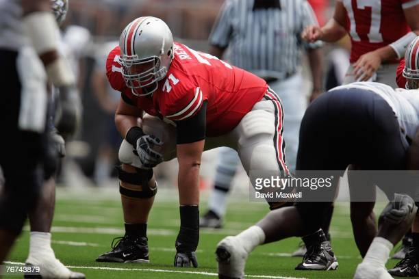 Steve Rehring of the Ohio State Buckeyes lines up for a play during the game against the Akron Zips at Ohio Stadium on September 8 2007 in Columbus...
