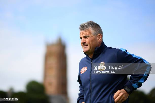 Steve Rhodes Head Coach of Bangladesh during the Group Stage match of the ICC Cricket World Cup 2019 between West Indies and Bangladesh at The County...
