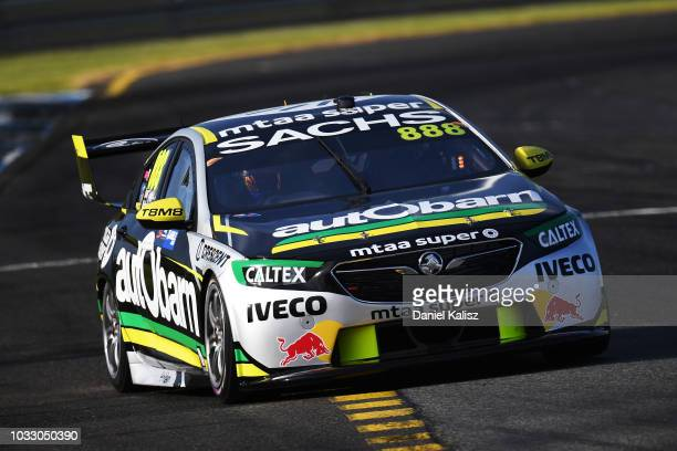 Steve Richards drives the Autobarn Lowndes Racing Holden Commodore ZB during practice for the Supercars Sandown 500 at Sandown International Motor...