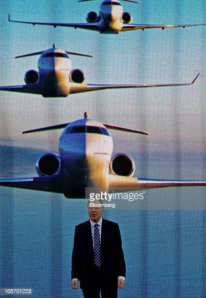 Steve Ridolfi president of business aircraft for Bombardier Inc speaks at the National Business Aviation Association annual meeting in Atlanta...