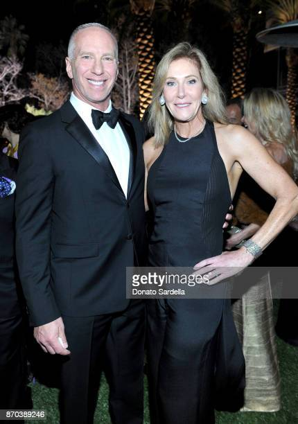 Steve Robinson and LACMA Trustee Janet Crown attend the 2017 LACMA Art Film Gala Honoring Mark Bradford and George Lucas presented by Gucci at LACMA...
