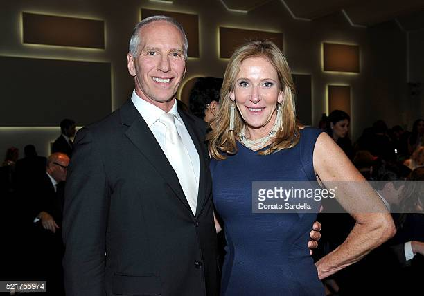 Steve Robinson and LACMA Trustee Janet Crown attend the LACMA 2016 Collectors Committee Gala on April 16 2016 in Los Angeles California