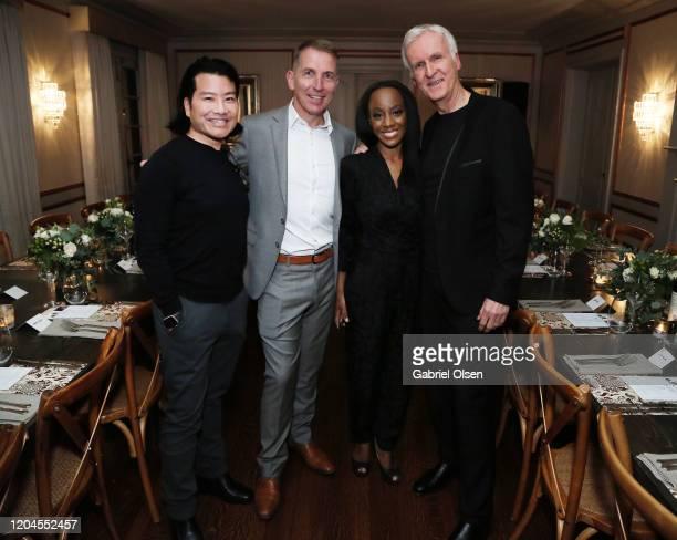 Steve Rohr Lenzing Global Branding VP Harold Weghorst RCGD CEO Samata and Director James Cameron attends Red Carpet Green Dress at the Private...