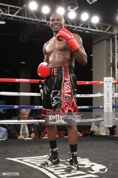 Steve Rolls celebrates after defeating Emmanuel Sanchez at the Resorts World Casino on June 03 2016 in the Queens borough of New York City Sanchez...