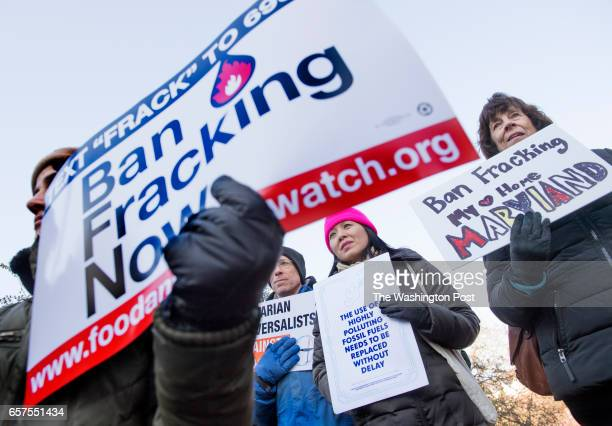 Steve Rosen Liz Lee and Nancy Plaxico attend an antifracking rally with dozens of other protestors at the Maryland Statehouse in Annapolis MD on...