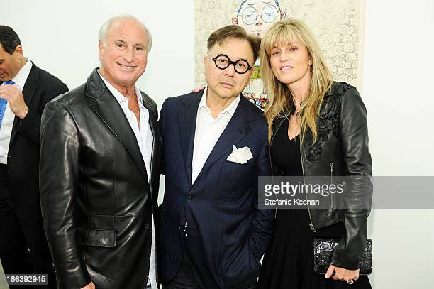 Steve Roth Michael Chow and Kaayla Cevan attend Takashi Murakami Private Preview And Dinner At Blum Poe on April 11 2013 in Los Angeles California
