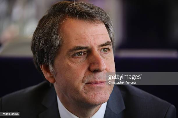 Steve Rotheram, Labour's mayoral candidate in the Liverpool city-region travels on a train on September 1, 2016 in Manchester, England. During a...