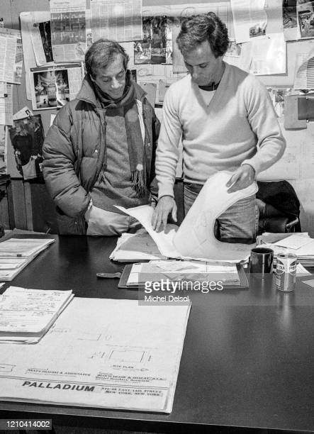 Steve Rubell and Ian Schrager in the offices of the Palladium nightclub five months before its opening The nightclub was designed by Japanese...