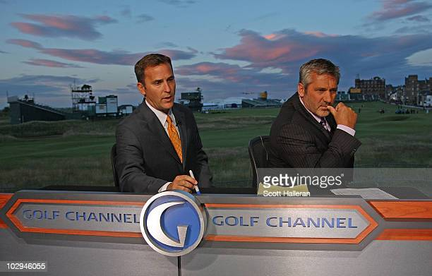 Steve Sands and Frank Nobilo of the Golf Channel are seen on the set during the second round of the 139th Open Championship on the Old Course St...