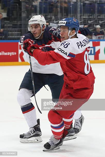 Steve Santini of USA skates against David Pastrnak of Czech Republic at Ice Palace on May 19 2016 in Moscow Russia