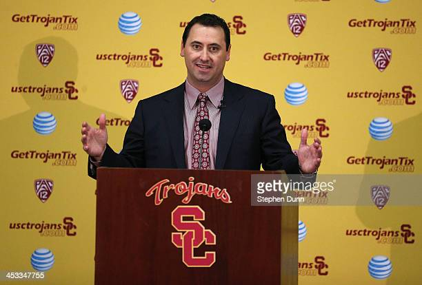 Steve Sarkisian speaks at a press conference introducing him as the new USC head football coach at the John McKay Center at the University of...