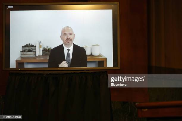 Steve Satterfield, vice president of privacy and public policy at Facebook Inc., speaks via videoconference during a Senate Judiciary Subcommittee...