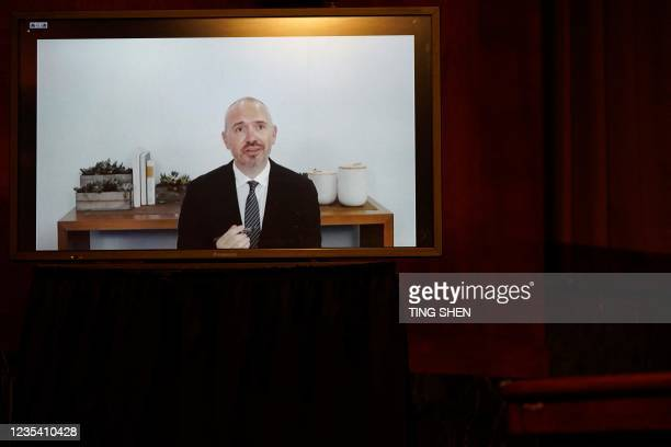 Steve Satterfield, vice president of privacy and public policy at Facebook Inc., appearing through videoconference, speaks during a Senate Judiciary...