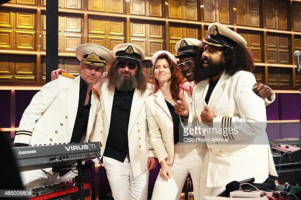 Steve Scalfati from left Tim Young Hagar Ben Ari Guillermo Brown and Reggie Watts on THE LATE LATE SHOW with JAMES CORDEN Thursday August 20 on the...