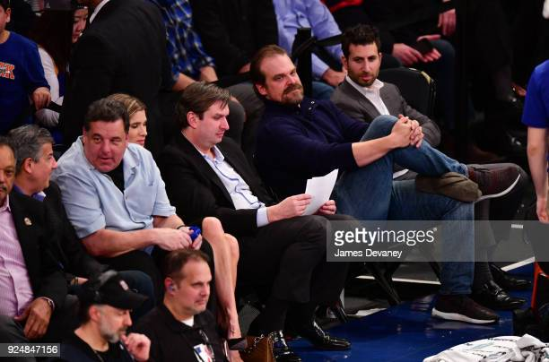Steve Schirripa and David Harbour attend the New York Knicks Vs Golden State Warriors game at Madison Square Garden on February 26 2018 in New York...