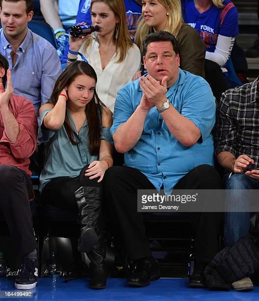 Steve Schirripa and his daughter Ciara Schirripa attend the Toronto Raptors vs New York Knicks game at Madison Square Garden on March 23 2013 in New...