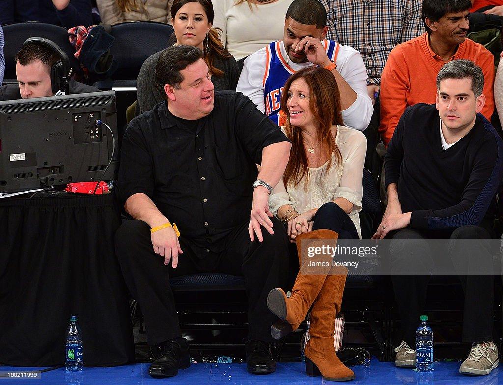 Steve Schirripa and Laura Schirripa attend the Atlanta Hawks vs New York Knicks game at Madison Square Garden on January 27, 2013 in New York City.
