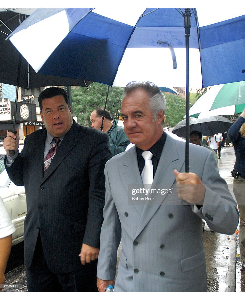 Steve Schirripa and Tony Sirico on location for 'A Muppets Christmas: Letters to Santa' on September 9, 2008 in New York City.