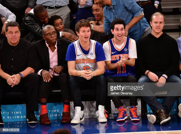 Steve Schirripa guest Ansel Elgort guest and Noah Syndergaard attend the Denver Nuggets Vs New York Knicks game at Madison Square Garden on October...