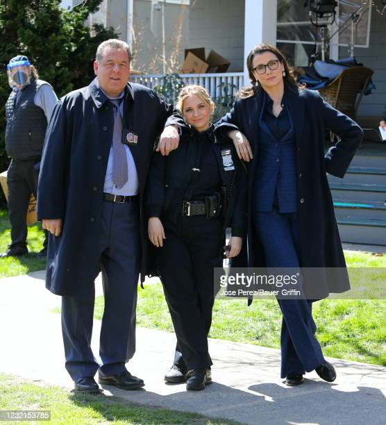 """Steve Schirripa, Vanessa Ray and Bridget Moynahan are seen on the set of """"Blue Bloods"""" on April 06, 2021 in New York City."""