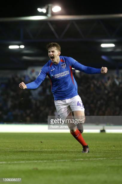 Steve Seddon of Portsmouth FC celebrates after he scores a goal to make it 20 during the Sky Bet League One match between Portsmouth and Rochdale at...