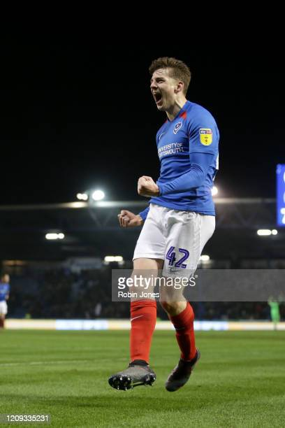 Steve Seddon of Portsmouth FC celebrates after he scores a goal to make it 2-0 during the Sky Bet League One match between Portsmouth and Rochdale at...