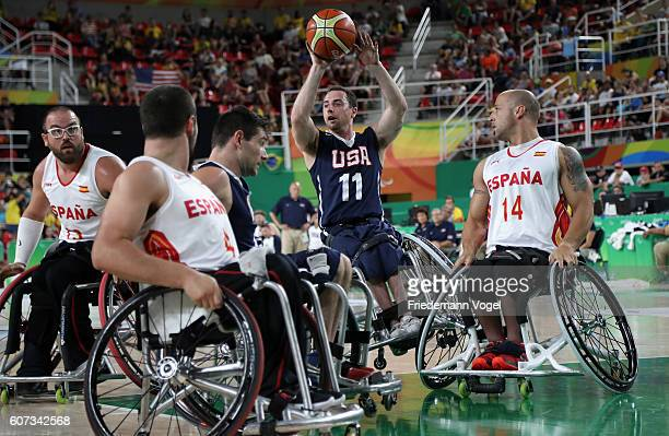 Steve Serio of USA in action during Men's Wheelchair Basketball Gold Medal match between Spain and USA on day 10 of the Rio 2016 Paralympic Games at...