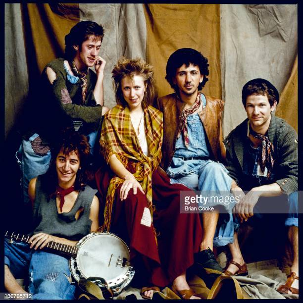 Steve Shaw, Helen O'Hara, Kevin Rowland, Seb Shelton and Billy Adams of Dexys Midnight Runners, group portrait at Diamond Sound Rehersal Studios in...