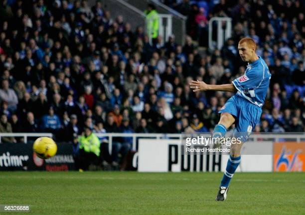Steve Sidwell of Reading scores the first goal during the Coca-Cola Championship match between Reading and Luton Town at the Madejski Stadium on...