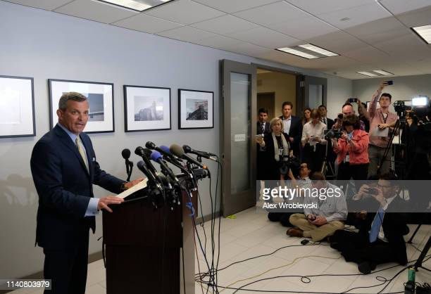Steve Silverman attorney for Baltimore Mayor Catherine Pugh holds a press conference announcing her resignation on May 2 2019 in Baltimore Maryland...