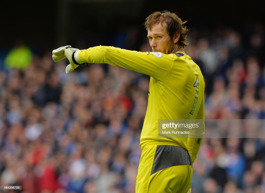 Steve Simonsen of Rangers reacts during the William Hill Scottish Cup Semi Final between Rangers and Dundee United at Ibrox Stadium on April 12, 2014 in Glasgow, Scotland.