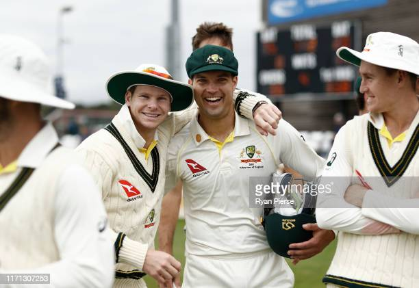Steve Smith and Alex Carey of Australia look on during day three of the Tour Match between Derbyshire CCC and Australia at The County Ground on...