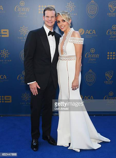 Steve Smith and Dani Willis arrive ahead of the Allan Border Medal at on January 23, 2017 in Sydney, Australia.
