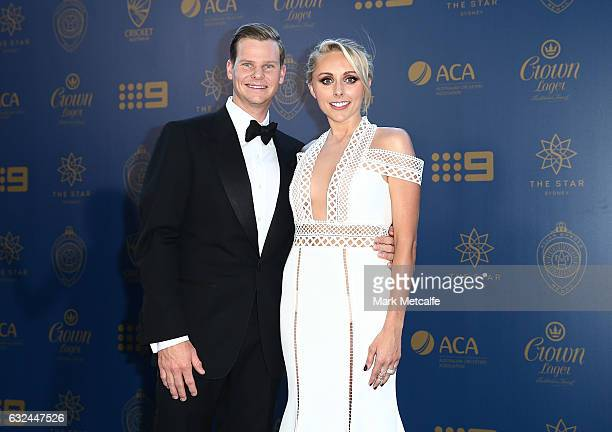 Steve Smith and Danielle Willis arrive ahead of the 2017 Allan Border Medal at The Star on January 23 2017 in Sydney Australia