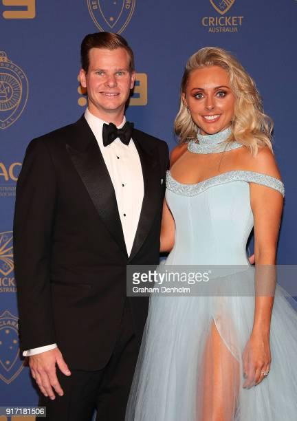 Steve Smith and Danielle Willis arrive at the 2018 Allan Border Medal at Crown Palladium on February 12 2018 in Melbourne Australia