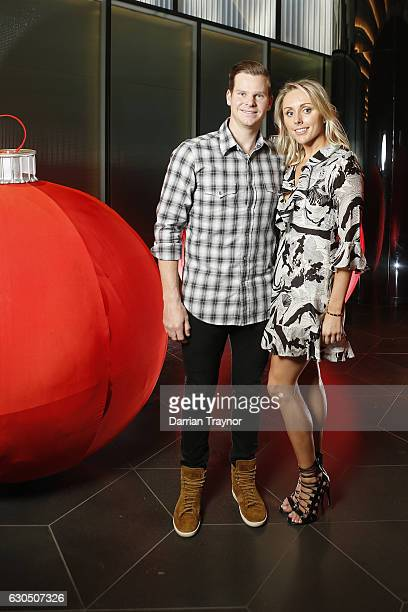 Steve Smith and Danielle Willis pose for a photo at the Australian Cricket Team Christmas Celebrations on December 25 2016 in Melbourne Australia