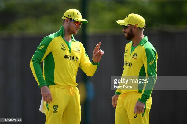 Steve Smith and David Warner of Australia chat during the One Day International match between Australia and West Indies at the Ageas Bowl on May 22...