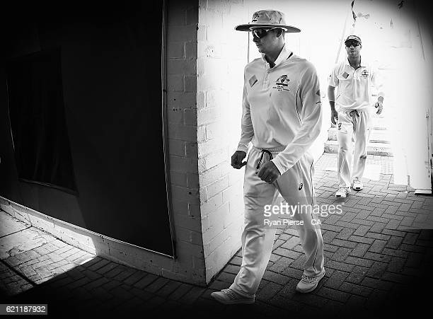 Steve Smith and David Warner of Australia lead their team out during day three of the First Test match between Australia and South Africa at WACA on...