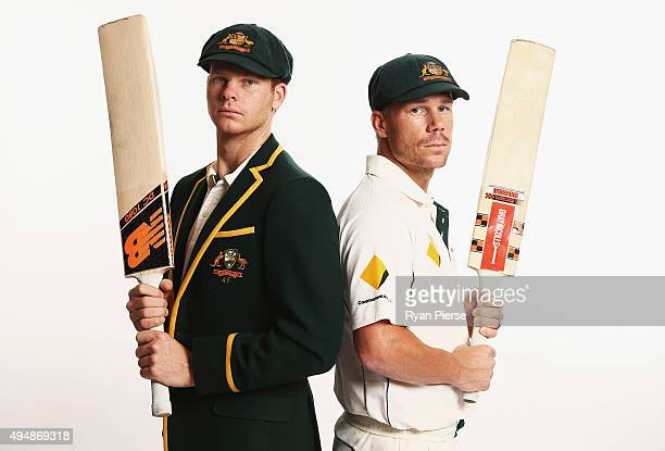 Steve Smith and David Warner of Australia pose during an Australian Test Cricket Portrait Session on October 19 2015 in Sydney Australia