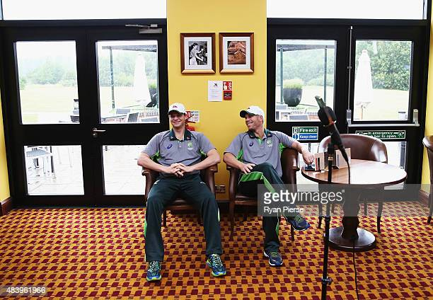 Steve Smith and David Warner of Australia wait to speak during a press conference at Marriott Northampton d on August 14 2015 in Northampton England