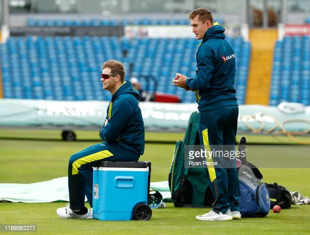 Steve Smith and Marnus Labuschagne of Australia look on during the Australia Nets Session at Headingley on August 21 2019 in Leeds England