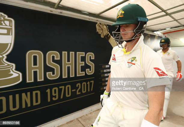 Steve Smith and Mitch Marsh of Australia head out to bat during day four of the Third Test match during the 2017/18 Ashes Series between Australia...